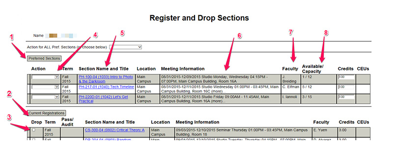 Register and Drop Sections